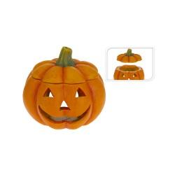 Portavelas calabaza halloween ceramico 19x19x18cm