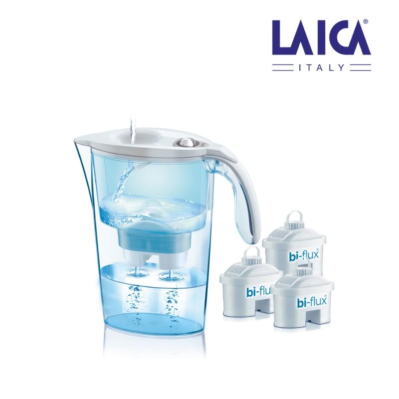 S.of    kit jarra laica stream 2,3l   blanca + 3 filtros bi-flux